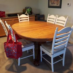 48 Dia Oak Table With Two 24 Leaves